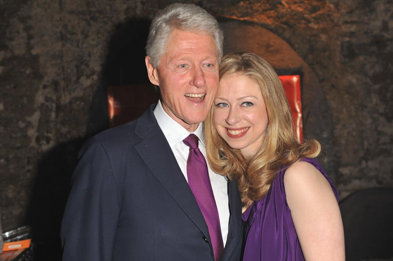 "Bill Clinton and Chelsea Clinton arrive at ""A Night Out With The Millennium Network,"" at the Old Vic Tunnels, presented by The Clinton Foundation and The Reuben Foundation. The evening, hosted by Bill Clinton, Chelsea Clinton, Gwyneth Paltrow and Will i Am took place on the 22nd May 2012 in London, England.  (Photo by Samir Hussein/Getty Images for Clinton Foundation Fundraiser)"
