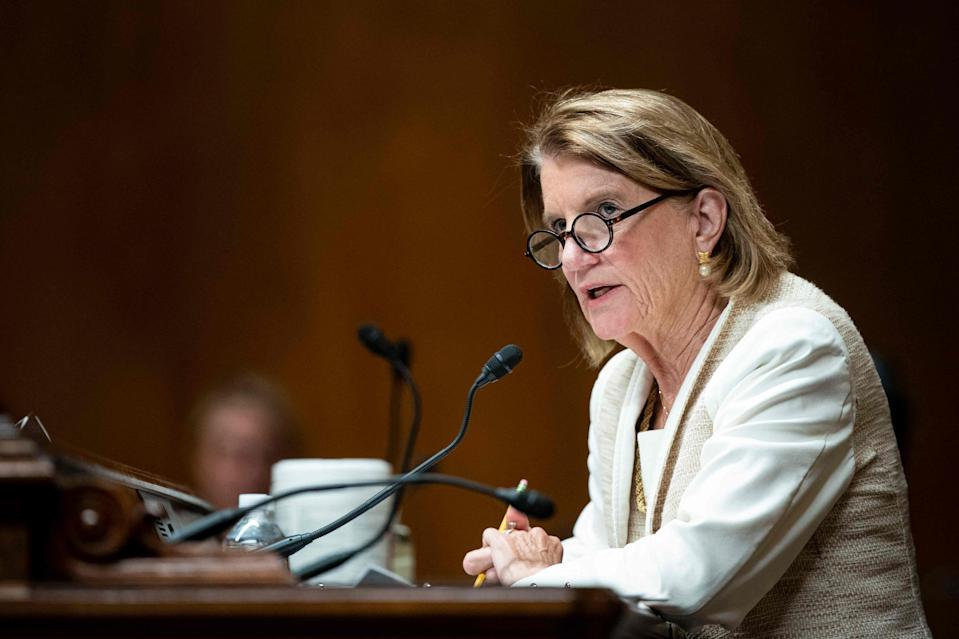 Sen. Shelley Moore Capito, a Republican from West Virginia, speaks during a Senate Appropriations Subcommittee hearing in Washington, DC, on Wednesday.