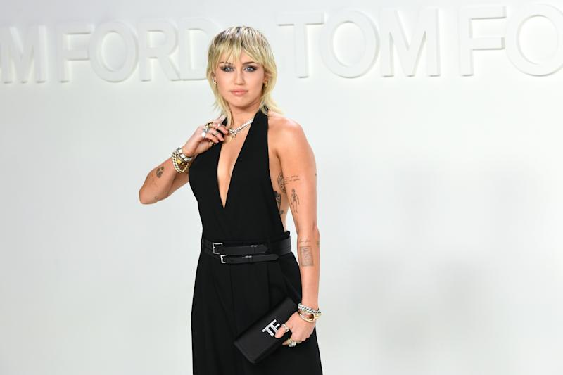 Miley Cyrus attends the Tom Ford AW20 Show at Milk Studios on February 07, 2020 in Hollywood, California.