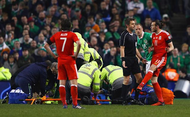 Seamus Coleman had his leg broken by a Neil Taylor tackle playing for Ireland against Wales