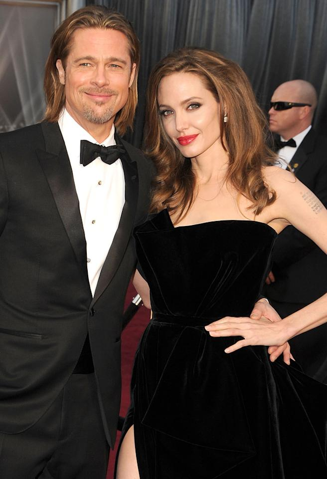HOLLYWOOD, CA - FEBRUARY 26:  Brad Pitt and Angelina Jolie arrives at the 84th Annual Academy Awards at Grauman's Chinese Theatre on February 26, 2012 in Hollywood, California.  (Photo by Steve Granitz/WireImage)