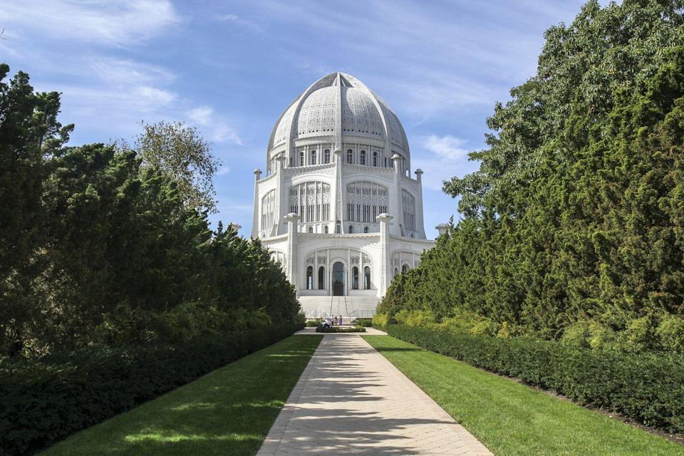 """<p>The <a href=""""https://www.bahai.us/bahai-temple"""" rel=""""nofollow noopener"""" target=""""_blank"""" data-ylk=""""slk:Bahá'í House of Worship"""" class=""""link rapid-noclick-resp"""">Bahá'í House of Worship</a><a href=""""https://www.bahai.us/bahai-temple"""" rel=""""nofollow noopener"""" target=""""_blank"""" data-ylk=""""slk:House of Worship"""" class=""""link rapid-noclick-resp""""> House of Worship</a> in Wilmette, Illinois, is the oldest of the seven Bahá'í<span class=""""redactor-invisible-space""""> temples that exist around the world today. With nine sides, a massive dome and a beautiful garden, the temple serves as a house of worship for believers in the Bahá'í<span class=""""redactor-invisible-space""""> faith, which was <a href=""""https://www.bahai.us/founders"""" rel=""""nofollow noopener"""" target=""""_blank"""" data-ylk=""""slk:founded in Iran"""" class=""""link rapid-noclick-resp"""">founded in Iran</a> in the mid-1800s.</span></span></p>"""