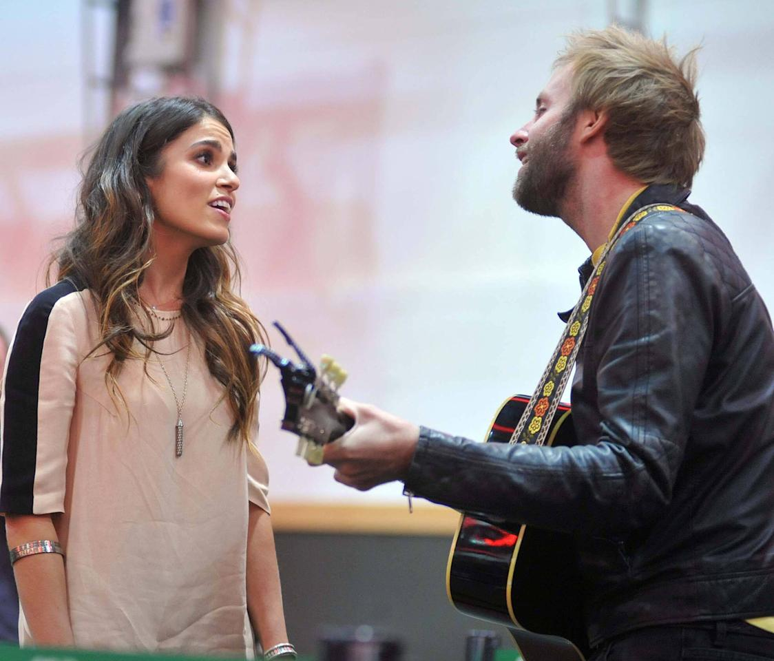 Nikki Reed and Paul McDonald perform a song 'Twilight' stars Kellan Lutz and Nikki Reed attend a signing session at The Dublin Convention Centre to promote the Twilight Saga: Breaking Dawn - Part 2 Dublin, Ireland - 27.10.12 **Not available for publication in Irish Tabloids or Irish magazines. Available for publication in the rest of the world** Mandatory Credit: WENN.com
