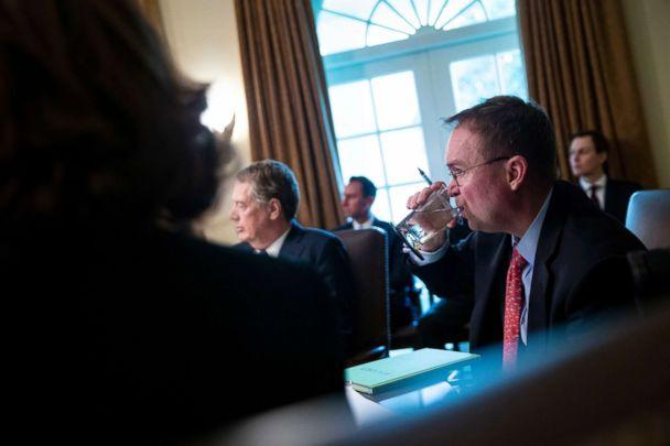 PHOTO: Mick Mulvaney, acting White House chief of staff, takes a drink of water during a cabinet meeting at the White House, Jan. 3, 2019. (Rex via Shutterstock)