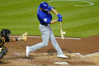 Chicago Cubs' Matt Duffy singles off Pittsburgh Pirates starting pitcher Mitch Keller, driving in a run, during the third inning of a baseball game in Pittsburgh, Tuesday, Sept. 28, 2021. (AP Photo/Gene J. Puskar)