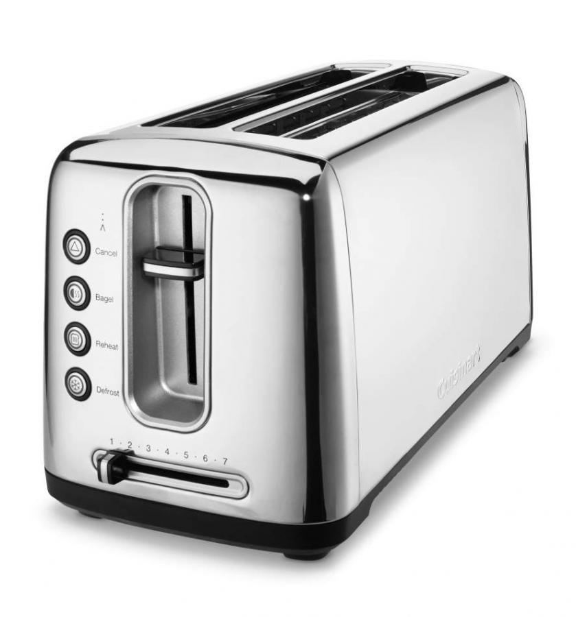 """<p><strong>Cuisinart</strong></p><p><strong>$103.00</strong></p><p><a href=""""https://go.redirectingat.com?id=74968X1596630&url=https%3A%2F%2Fwww.walmart.com%2Fip%2F191270526%3Fselected%3Dtrue&sref=https%3A%2F%2Fwww.goodhousekeeping.com%2Fappliances%2Ftoaster-reviews%2Fg4921%2Ftop-tested-toasters%2F"""" rel=""""nofollow noopener"""" target=""""_blank"""" data-ylk=""""slk:Shop Now"""" class=""""link rapid-noclick-resp"""">Shop Now</a></p><p><strong>If there's always an unsliced loaf of sourdough in your kitchen, clear room on your countertop</strong> for the stainless steel Cuisinart Bakery Artisan Toaster. It has two long slots that make it big enough for oversize slices from round loaves — or you can toast four regular-size pieces of bread at once. The controls on this model are exceptionally easy to read. It also features a removable crumb tray. </p>"""