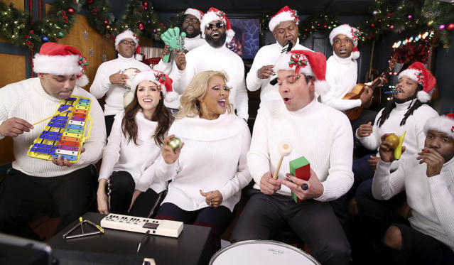 "<p>This talented group of musicians schooled us all with a killer performance on Monday. The <em>Pitch Perfect</em> <em>3</em> star joined Fallon and Love for a rendition of Love's holiday favorite ""Christmas (Baby Please Come Home)"" on the<em> Tonight Show</em>'s classic ""Classroom Instruments"" segment. (Photo: Andrew Lipovsky/NBC/NBCU Photo Bank via Getty Images) </p>"