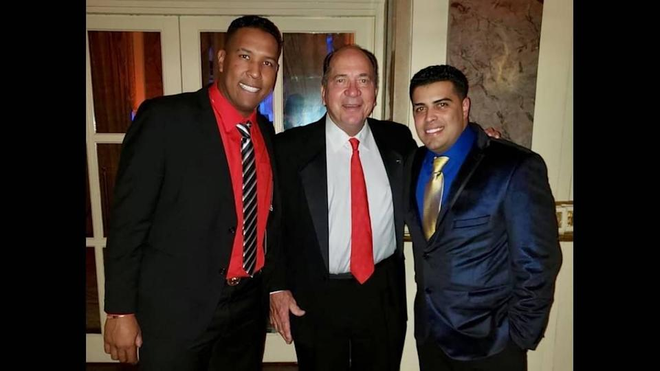 From left are Royals catcher Sal Perez, Hall of Famer Johnny Bench and Rafi Cedeño.