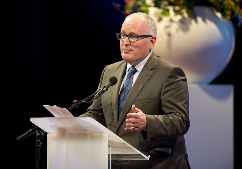 Dutch Foreign Minister Frans Timmermans speaks during celebrations marking the 200th anniversary of the Dutch kingdom in Maastricht on August 30, 2014 (AFP Photo/Marco De Swart)