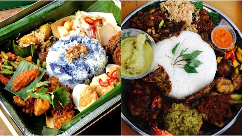 """At left, Tray A of the """"Nyonya Nasi Ambeng Trays"""". A Nasi Ambeng dish by a Muslim catering company in Singapore.(PHOTOS: Violet Oon Singapore, Shereen's Kitchen/Facebook)"""