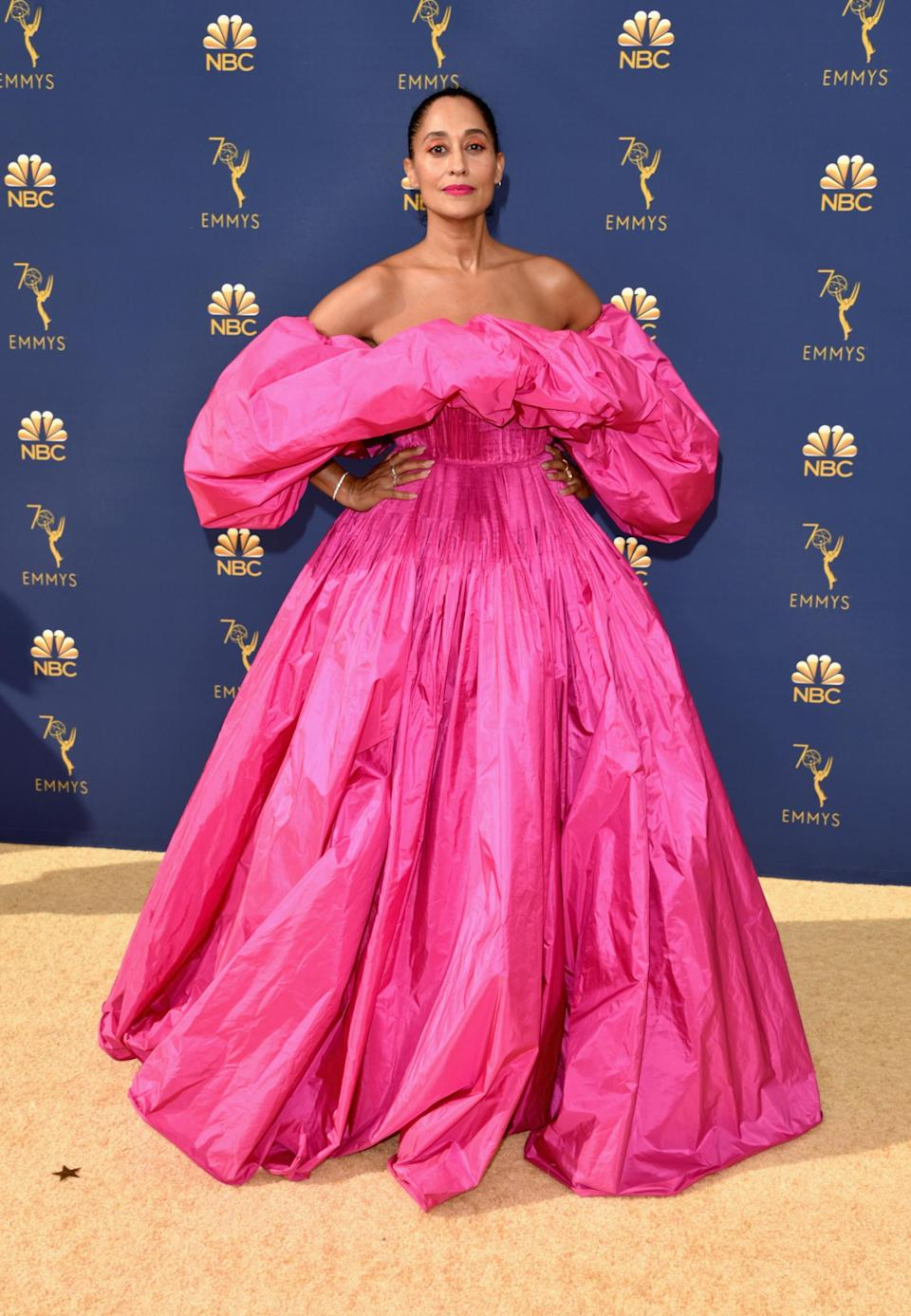 <p>The actress stole the spotlight in a voluminous hot pink gown by Pierpaolo Piccioli for Valentino. <em>[Photo: Getty]</em> </p>