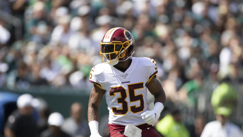 Washington safety Montae Nicholson dropped off a woman at a Virginia hospital early Thursday morning. She later died of an apparent drug overdose. (AP/Jason E. Miczek)