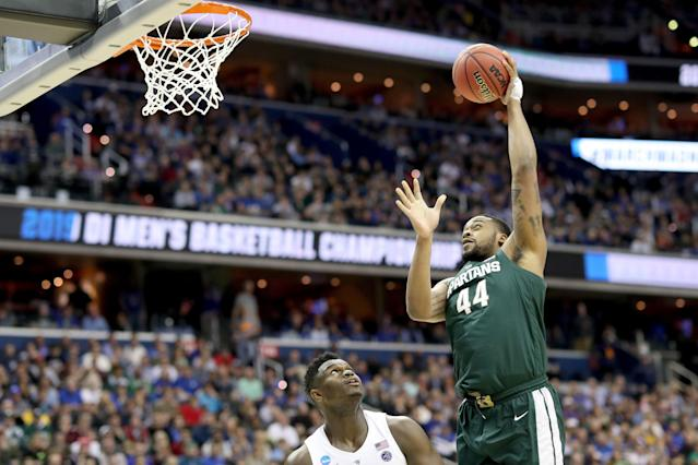 "<a class=""link rapid-noclick-resp"" href=""/ncaab/players/137370/"" data-ylk=""slk:Nick Ward"">Nick Ward</a> has declared for the NBA draft and will not return to Michigan State next year for his senior season. (Getty Images)"