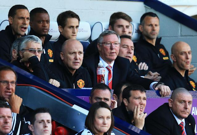 WEST BROMWICH, ENGLAND - MAY 19: Manchester United manager Sir Alex Ferguson looks on from the bench during the Barclays Premier League match between West Bromwich Albion and Manchester United at The Hawthorns on May 19, 2013 in West Bromwich, England. Ferguson is in charge for his 1,500th and final match for the club. (Photo by Richard Heathcote/Getty Images)
