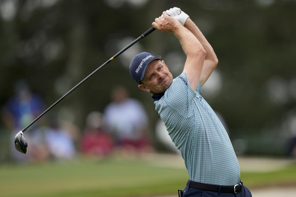 Justin Rose, of England, tees off on the third hole during the second round of the Masters golf tournament on Friday, April 9, 2021, in Augusta, Ga. (AP Photo/David J. Phillip)