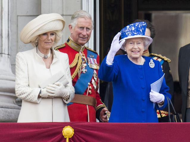 LONDON, ENGLAND - JUNE 15: Queen Elizabeth II with Camilla, Duchess of Cornwall and Prince Charles, Prince of Wales during the annual Trooping The Colour ceremony at Buckingham Palace on June 15, 2013 in London, England. (Photo by Mark Cuthbert/UK Press via Getty Images)