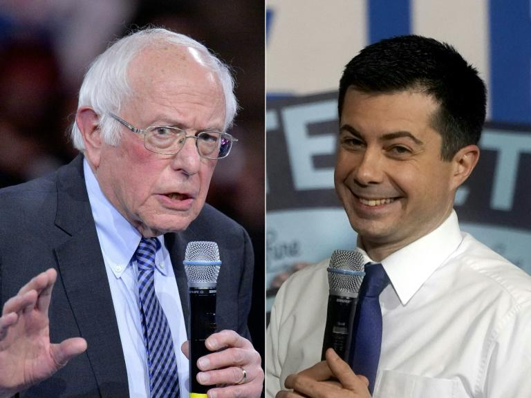Pete Buttigieg (R) won, but Bernie Sanders is set to challenge the outcome of the messy Iowa vote