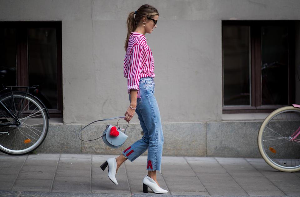"""<p>The frayed edges on these jeans are the perfect marriage between too cool for school and barely trying. This trend beautifully emphasizes a statement boot or coat. And if buying new isn't your thing right now, you can also <a class=""""link rapid-noclick-resp"""" href=""""https://www.popsugar.co.uk/tag/DIY"""" rel=""""nofollow noopener"""" target=""""_blank"""" data-ylk=""""slk:DIY"""">DIY</a> your own undone-hem jeans by taking out the hem with a seam ripper.</p>"""