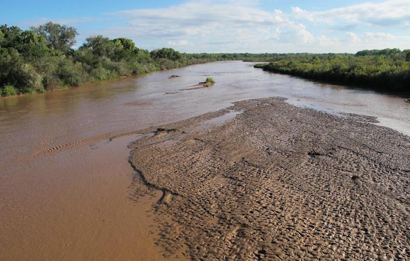 This Sept. 17, 2013 photo shows brown water in the Rio Grande due to runoff from a series of recent thunderstorms as it flows under a biking and walking path at the northern end of Albuquerque, N.M. The paved path along the cottonwood and willow forest that borders the river stretches 16 miles from one end of the city to the other. (AP Photo/Susan Montoya Bryan)