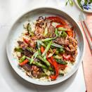 "<p>Quick-cooking and full-flavored skirt steak is perfect for stir-fries. Just be sure to slice it across the grain so the steak stays tender as it cooks. <a href=""https://www.eatingwell.com/recipe/7890433/steak-vegetable-stir-fry-with-black-bean-garlic-sauce/"" rel=""nofollow noopener"" target=""_blank"" data-ylk=""slk:View recipe"" class=""link rapid-noclick-resp""> View recipe </a></p>"