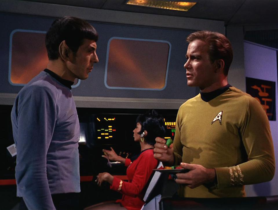 American actor Leonard Nimoy as Mr. Spock and Canadian actor William Shatner as Captain James T. Kirk appear in a scene from 'The Man Trap,' the premiere episode of 'Star Trek,' which aired on September 8, 1966. Behind them, Uhura, played by American actress Nichelle Nichols, sits at the control panel. (Photo by CBS Photo Archive/Getty Images)