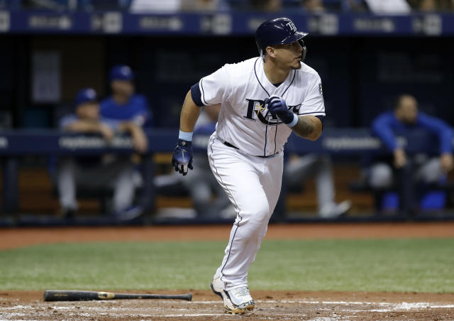 Tampa Bay Rays' Wilson Ramos heads toward first on his two-run home run off Toronto Blue Jays starting pitcher Jaime Garcia during the third inning of a baseball game Tuesday, June 12, 2018, in St. Petersburg, Fla. (AP Photo/Chris O'Meara)