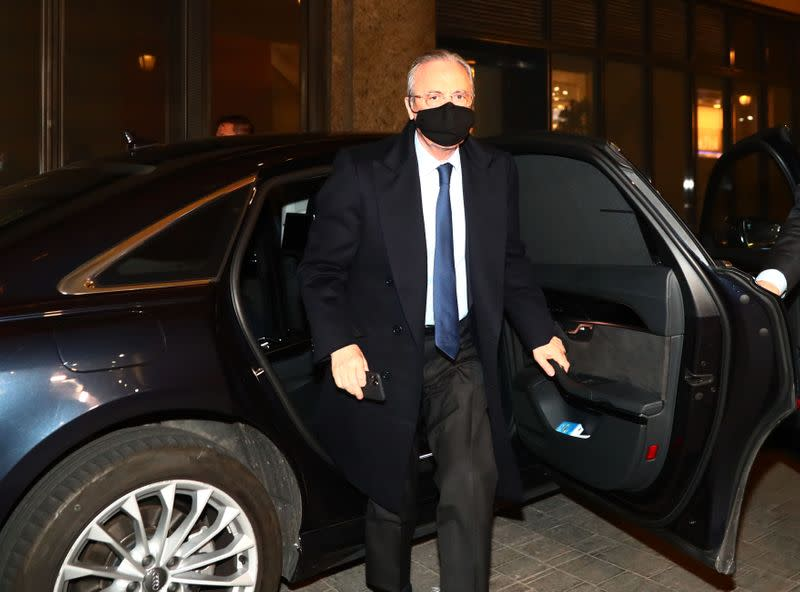 Real Madrid president Florentino Perez arrives at a radio station in Madrid