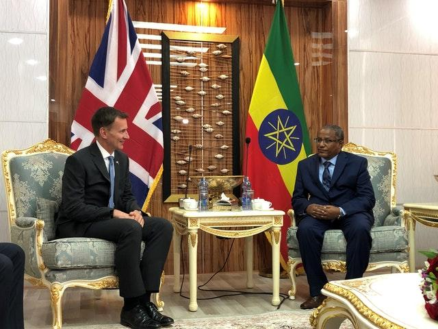 Foreign Secretary Jeremy Hunt was speaking in Ethiopia where the met Foreign Minister, Gedu Andargachew (Harriet Line/PA)