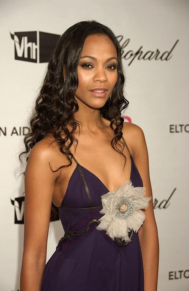 "<a href=""http://movies.yahoo.com/movie/contributor/1800362233"">Zoe Saldana</a> attend the 16th Annual Elton John AIDS Foundation Oscar Party at the Pacific Design Center in West Hollywood - 02/24/2008"