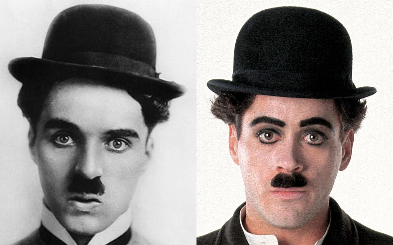 <p>If it was just a case of gluing on a toothbrush moustache, they could have got Mr T to play the Little Tramp. But no, instead, they got Robert Downey Jr. to do the whole bit, the 'tache, the hat, the bandy legs, the cane and good god, if he wasn't the spit of Charles Spencer Chaplin. He was nominated for an Oscar, and won the BAFTA.</p>