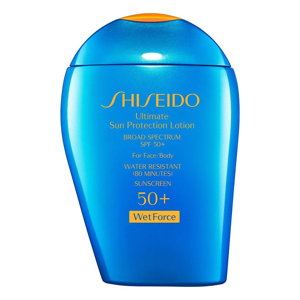 """<p>Shiseido's Ultimate Sun Protection Lotion is extremely comfortable to wear because it disappears immediately as you rub it into your skin. Skin is left silky smooth with a light, clean scent (no sunscreen smell here) — all while protecting your face with a whopping SPF 50.</p> <p><strong>$40</strong> (<a href=""""https://shop-links.co/1698700141343037657"""" rel=""""nofollow noopener"""" target=""""_blank"""" data-ylk=""""slk:Shop Now"""" class=""""link rapid-noclick-resp"""">Shop Now</a>)</p>"""