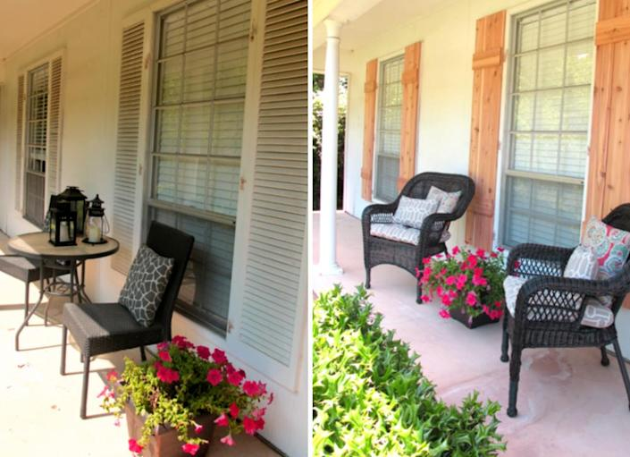 """<body> <p>Fresh, new <a href="""" http://www.bobvila.com/louvered-shutters/46308-shutter-style-10-designs-everyone-should-know/slideshows#.VQmhQ2TF8bo?bv=yahoo"""" rel=""""nofollow noopener"""" target=""""_blank"""" data-ylk=""""slk:shutters"""" class=""""link rapid-noclick-resp"""">shutters</a> can almost instantly enhance your home's curb appeal. Swapping these weary, boring white eyesores for some new board-and-batten cedar shutters made a huge impact on this facade.</p> <p><strong>Related: <a href="""" http://www.bobvila.com/articles/repurpose-shutters/?bv=yahoo"""" rel=""""nofollow noopener"""" target=""""_blank"""" data-ylk=""""slk:5 Things to Do With... Wood Shutters"""" class=""""link rapid-noclick-resp"""">5 Things to Do With... Wood Shutters</a> </strong> </p> </body>"""