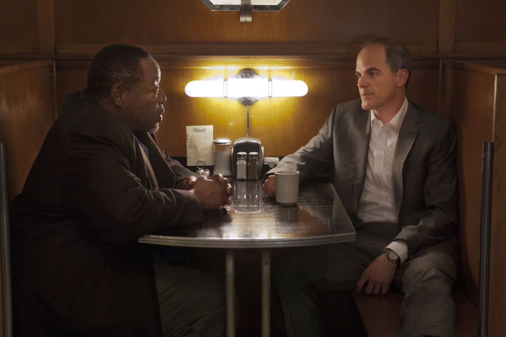"Chuck Cooper and Michael Kelly in the ""House of Cards"" Season 1 episode, ""Chapter 1."""