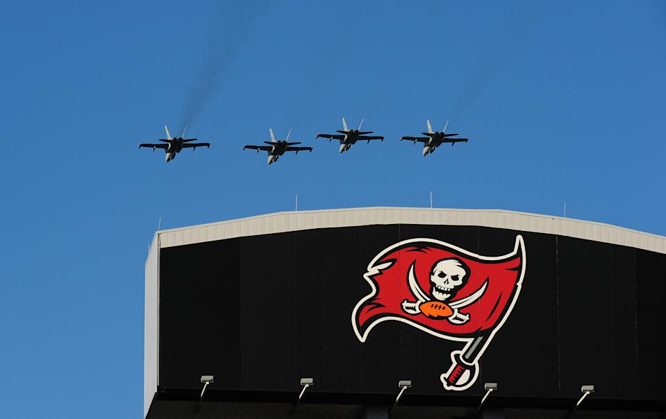 A flyover at Raymond James Stadium