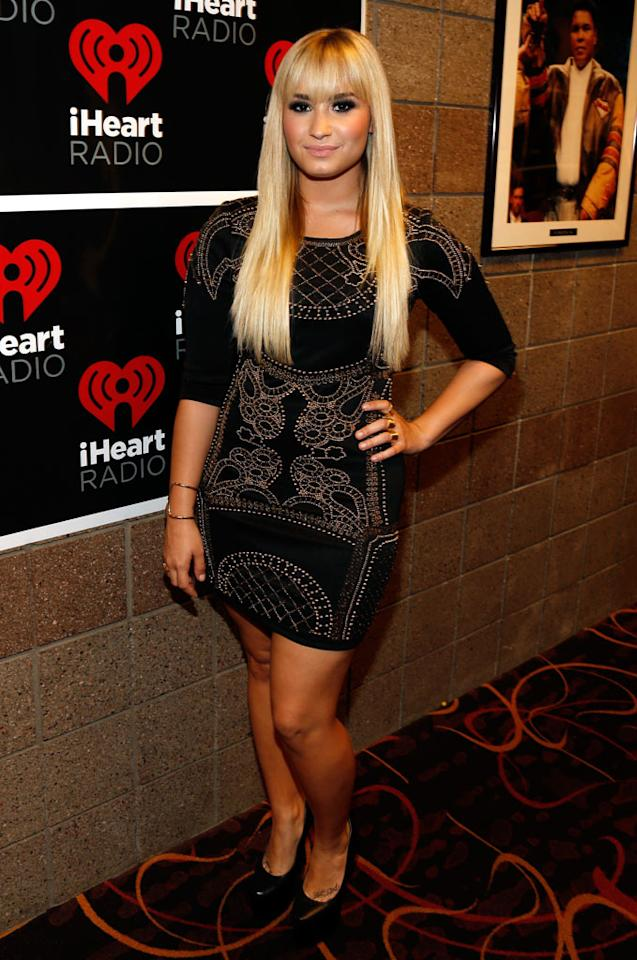 LAS VEGAS, NV - SEPTEMBER 21:  Singer Demi Lovato appers backstage during the 2012 iHeartRadio Music Festival at the MGM Grand Garden Arena on September 21, 2012 in Las Vegas, Nevada.  (Photo by Isaac Brekken/Getty Images for Clear Channel)