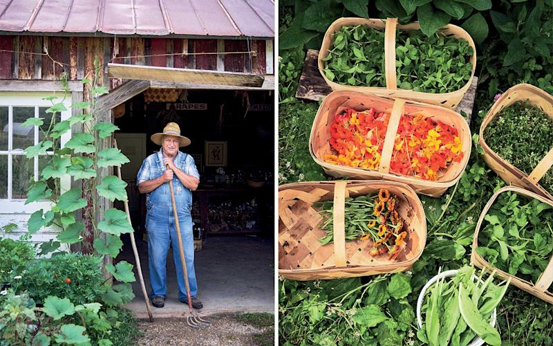 From left: Master gardener and Tennessee native John Coykendall at the Blackberry Farm garden; fresh vegetables and flowers from the garden at Blackberry Farm. | Marcus Nilsson