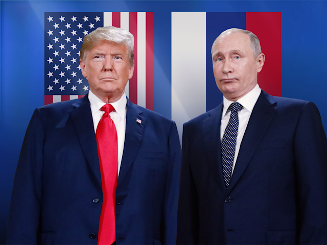 Trump and Putin in front of U.S. and Russian flags. (Photo illustration: AP)