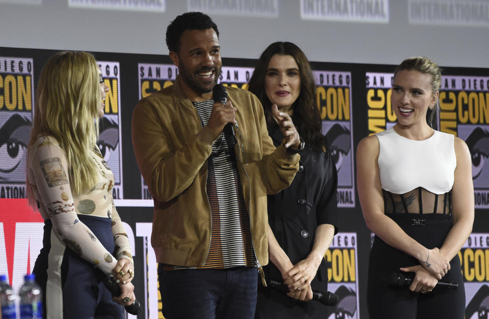 """Florence Pugh, from left, O. T. Fagbenle, Rachel Weisz and Scarlett Johansson participate during the """"Black Widow"""" portion of the Marvel Studios panel on day three of Comic-Con International on Saturday, July 20, 2019, in San Diego. (Photo by Chris Pizzello/Invision/AP)"""