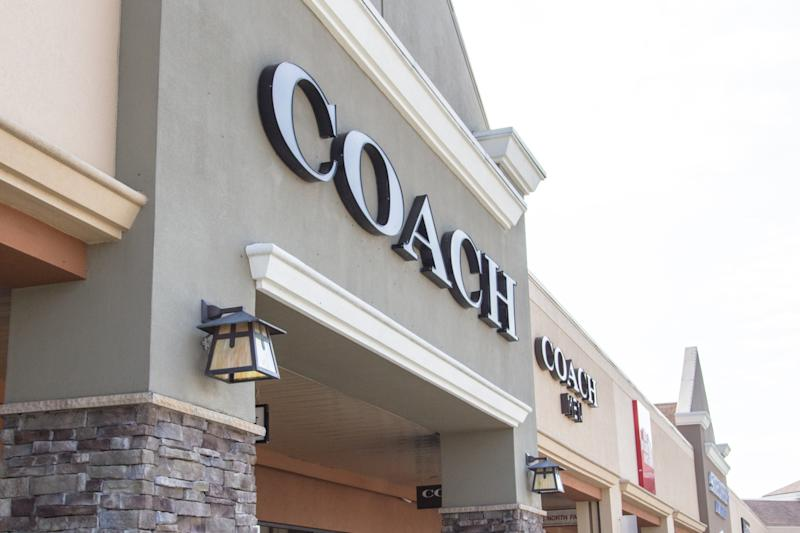 Frankenmuth, Michigan, USA - October 9, 2018: Exterior of the upscale brand Coach on the store exterior of the popular Birch Run outlet mall in Frankenmuth, Michigan.
