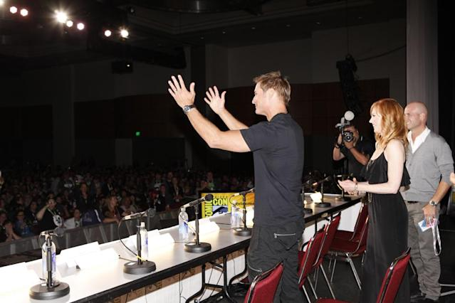 "Josh Holloway, Marg Helgenberger, and Tripp Vinson onstage at the ""Intelligence"" panel during Comic-Con International 2013 at San Diego Convention Center on July 18, 2013 in San Diego, California."