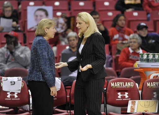 Maryland coach Brenda Frese, right, and North Carolina coach Sylvia Hatchell talk before an NCAA college basketball game between their teams on Thursday, Jan. 24, 2013, in College Park, Md. (AP Photo/Gail Burton)