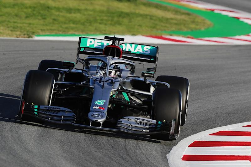 Hamilton fastest as Mercedes dominates first day