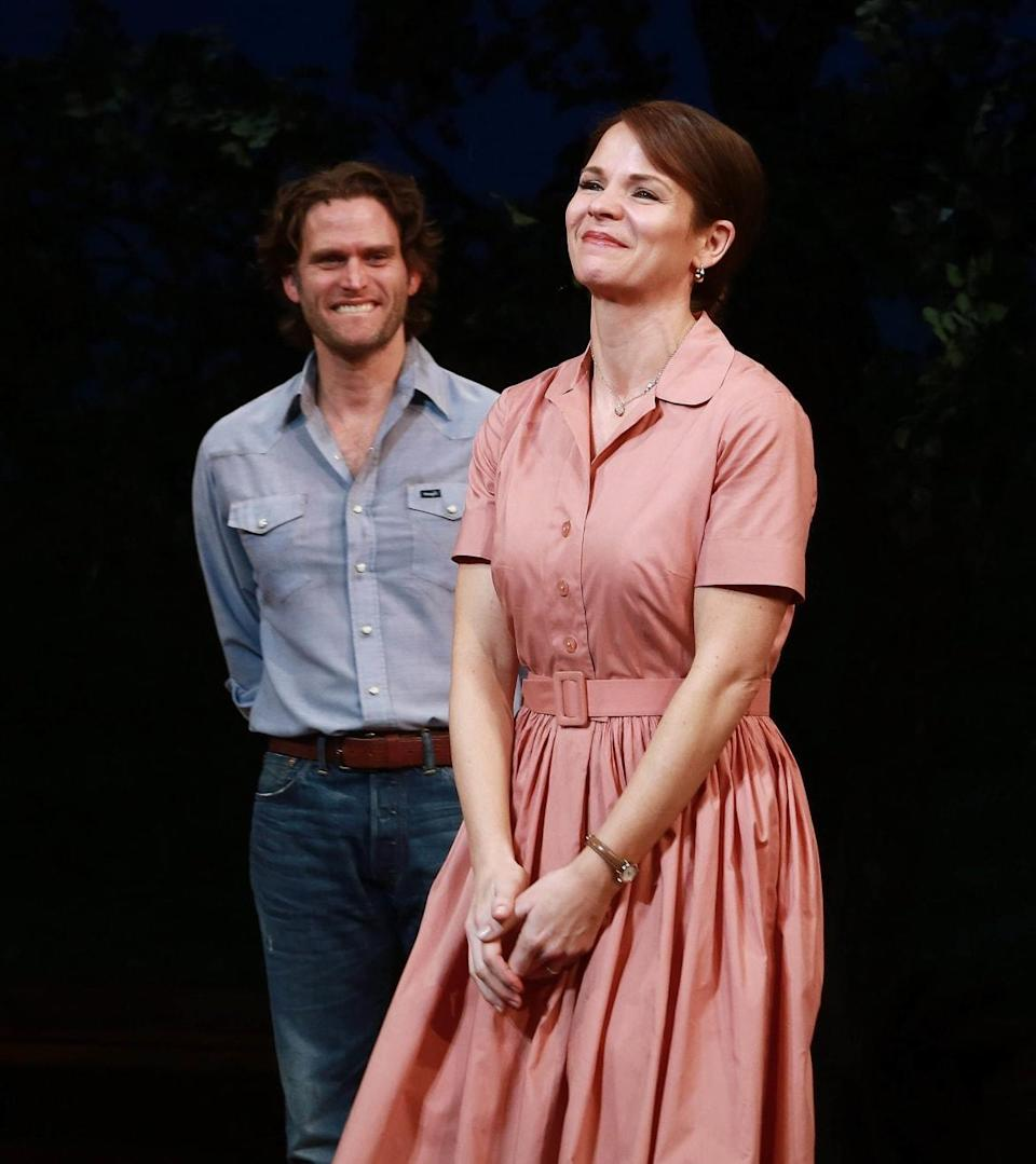 """<div class=""""inline-image__caption""""><p>Steven Pasquale (L) and Kelli O'Hara during the curtain call for <em>The Bridges Of Madison County</em> at the Gerald Schoenfeld Theatre, New York City, on Feb. 19, 2014.</p></div> <div class=""""inline-image__credit"""">Paul Zimmerman/Getty</div>"""