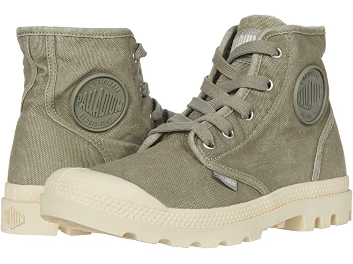 "<h3>Palladium Pampa Hi</h3><br>""These shoes are very nice and I appreciate them for the sturdy feeling they give me. They're similar to converse in the way that arch support is only mildly present, but I purchased a pair of ten dollar insoles and all is well with these shoes now. If you don't lace them up all the way they're relatively easy to slide on and off but still stay put when you need them to. Like others have said, they need some time to break them in - but after a week or two they're just fine. They also seem to be rather durable. These are probably one of my favorite pair of sneakers/boots I've ever owned."" - Anonymous <br><br><strong>Palladium</strong> Pampa Hi, $, available at <a href=""https://go.skimresources.com/?id=30283X879131&url=https%3A%2F%2Fwww.zappos.com%2Fp%2Fpalladium-pampa-hi-vetiver%2Fproduct%2F7867350%2Fcolor%2F120555"" rel=""nofollow noopener"" target=""_blank"" data-ylk=""slk:Zappos"" class=""link rapid-noclick-resp"">Zappos</a>"
