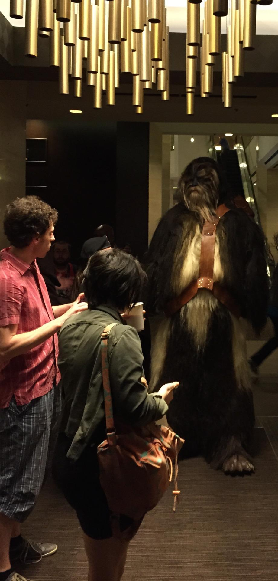 This is what happens when a Wookiee walks into a hotel lobby.