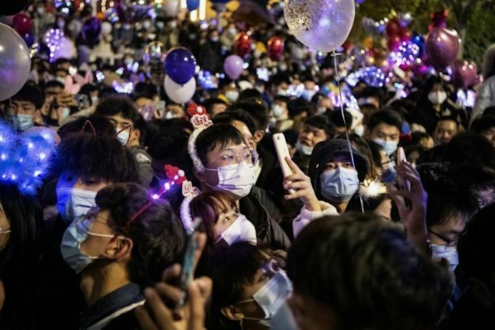 Crowds at the New Year countdown in Wuhan, China -- the first epicentre of Covid-19