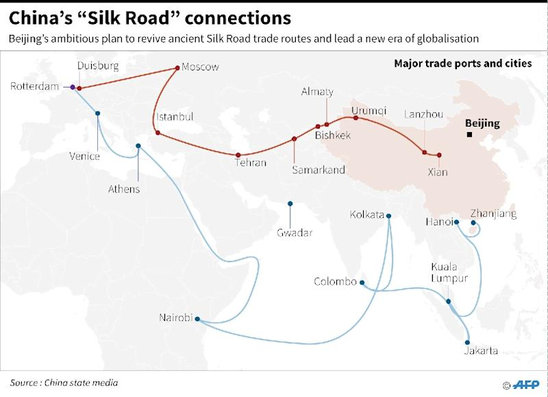 """China's """"Silk Road"""" connections (AFP Photo/Laurence CHU )"""