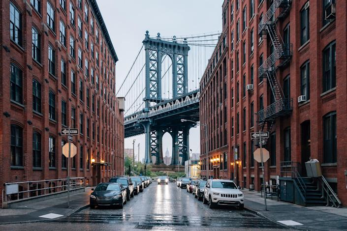 When the Manhattan Bridge was completed in 1912, it took the Brooklyn Bridge's place for the longest bridge in the city. Spanning some 6,855 feet across the East River, the Manhattan Bridge was designed by Leon Moisseiff. Today, hundreds of thousands of commuters use the bridge, crossing by automobile, subway train, bicycle, or on foot.