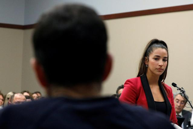 Victim and former gymnast Aly Raisman speaks at the sentencing hearing for Larry Nassar. (REUTERS)