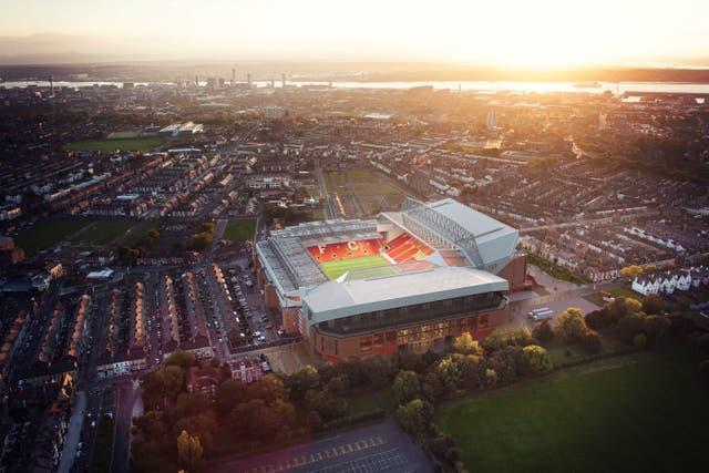 Drone shot of how the new Anfield Road Stand will look from the air